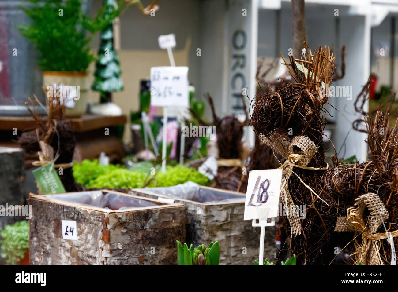 Garden ornament on display at Borough Market in London - Stock Image
