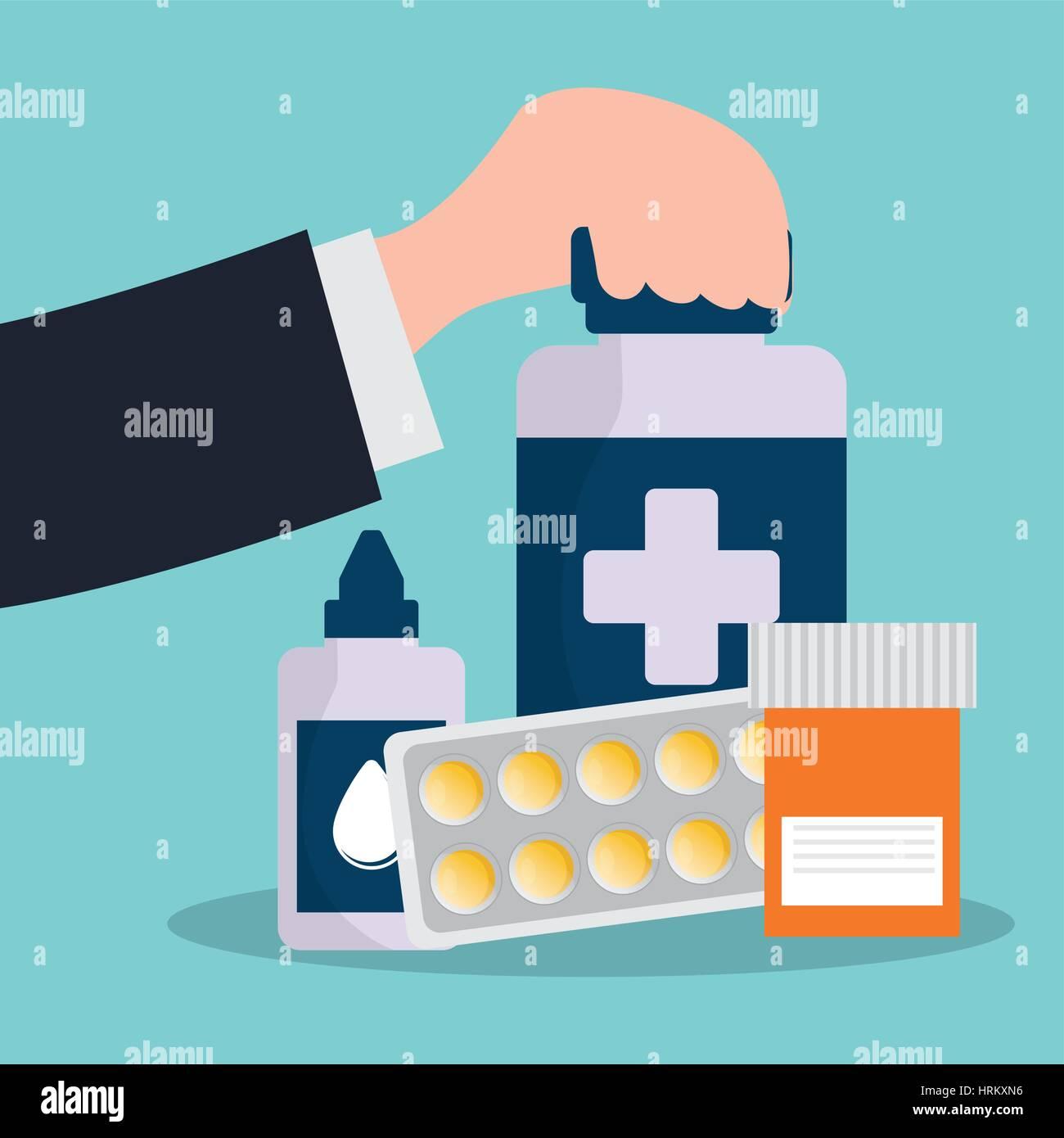 hand holding bottle medicine pharmacy service - Stock Vector