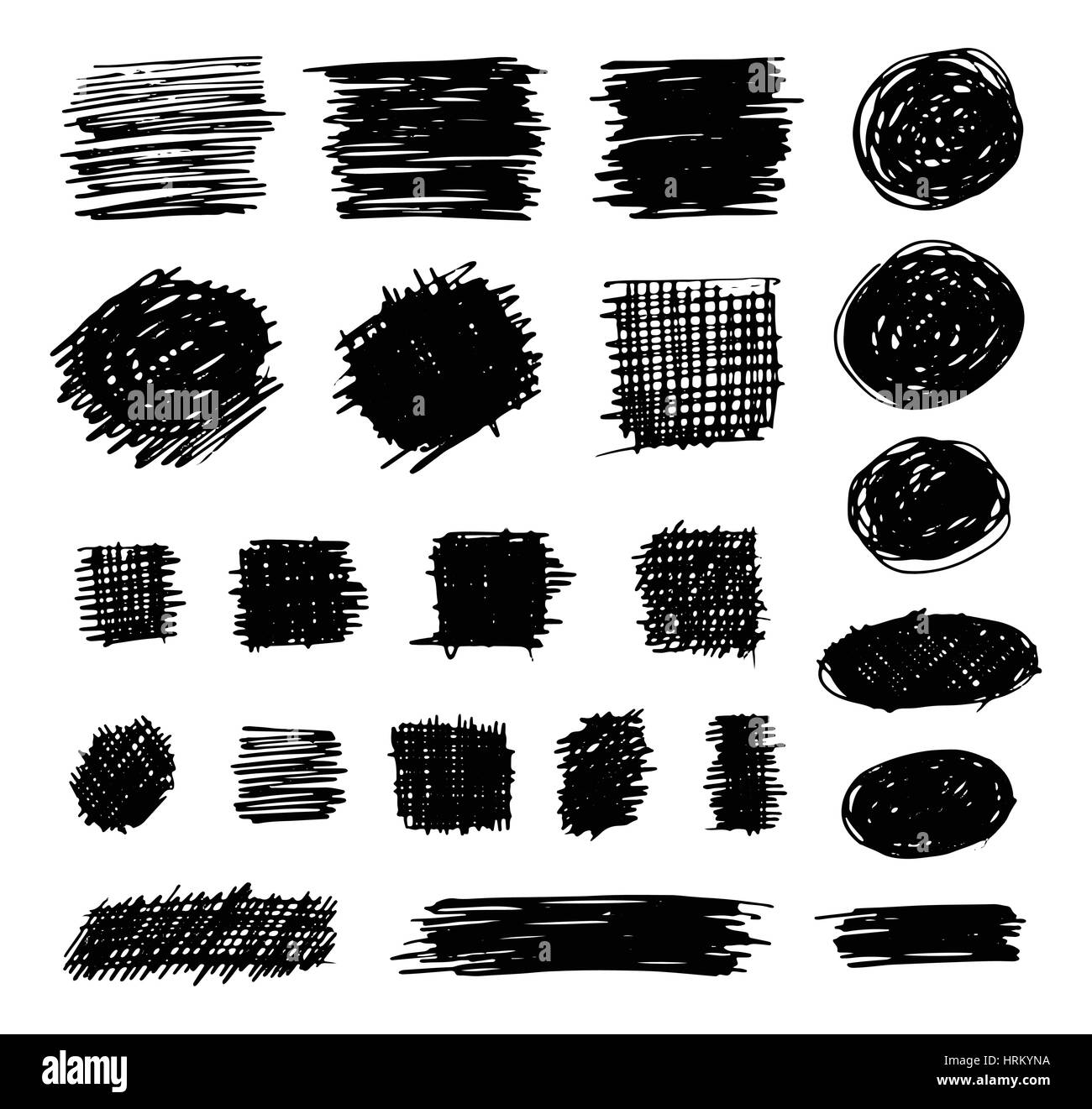 Hand Drawn Shaded Scribble Shapes - Stock Image