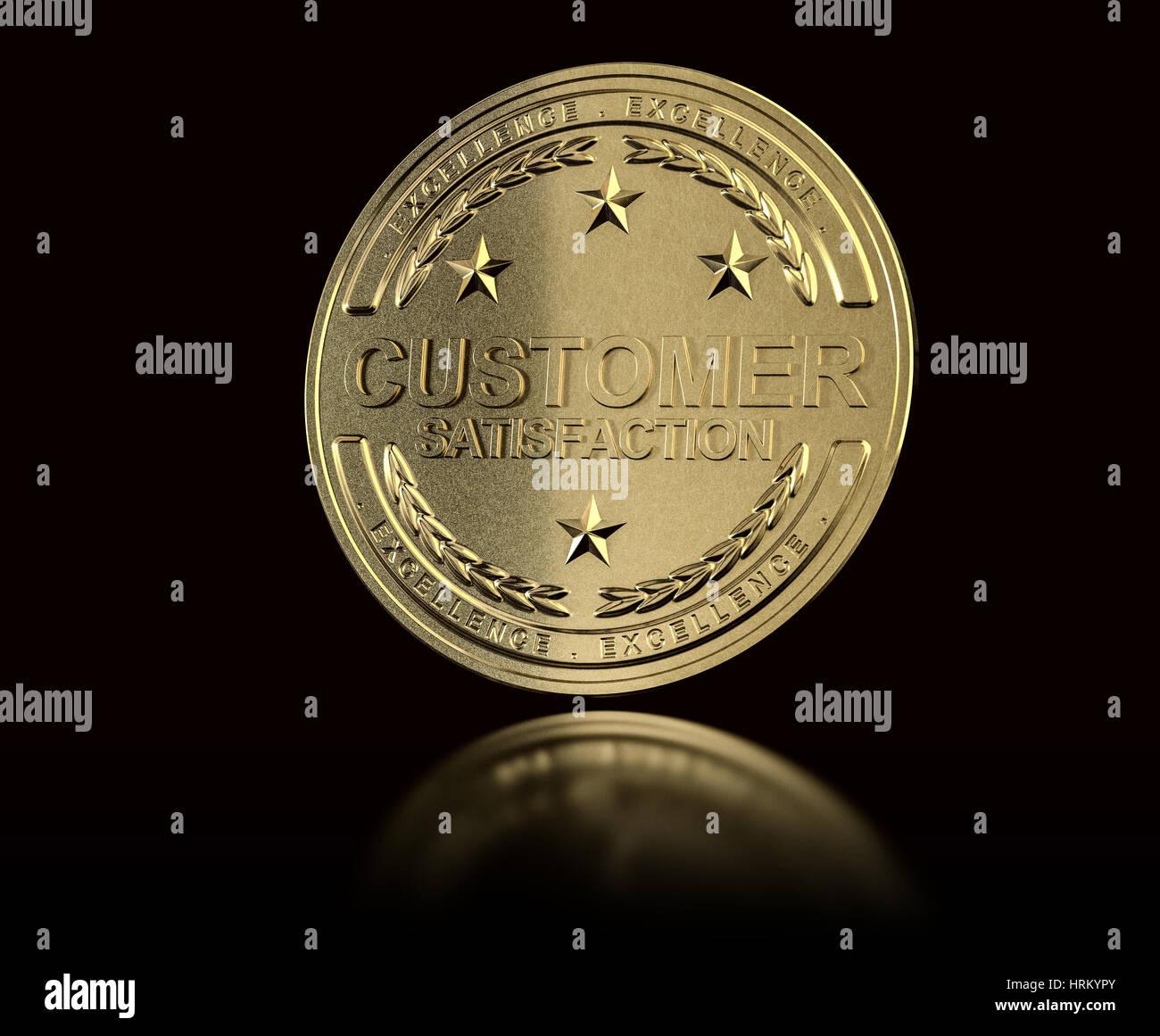 Golden customer satisfaction medal over black background. Concept of Customer Relationship Management. 3D illustration - Stock Image