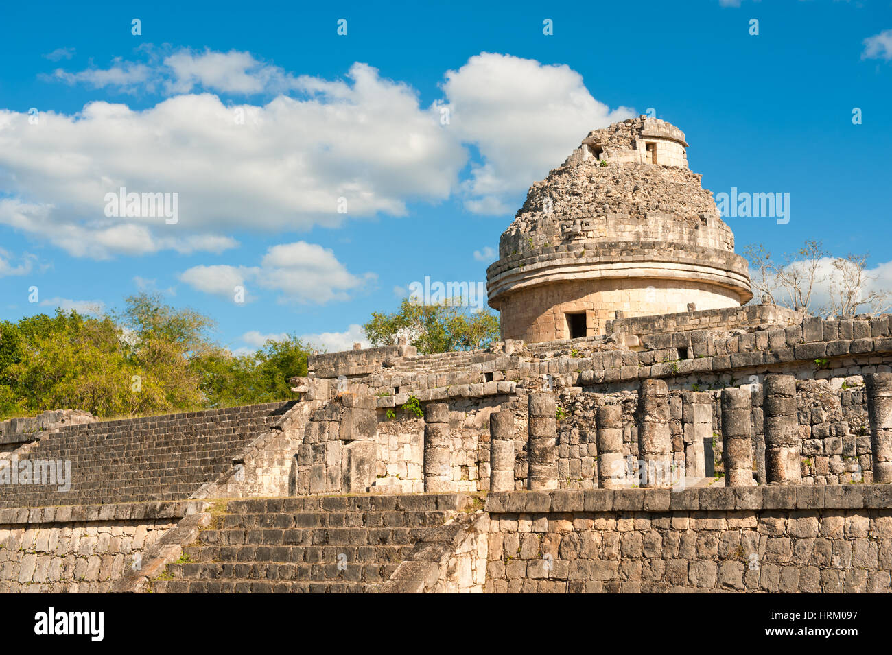 The observatory at Chichen Itza, Mexico, Yucatan - Stock Image