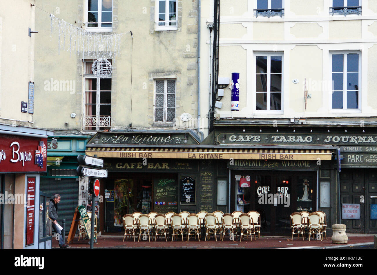 An Irish bar in Bayeux, Normandy, France. Stock Photo