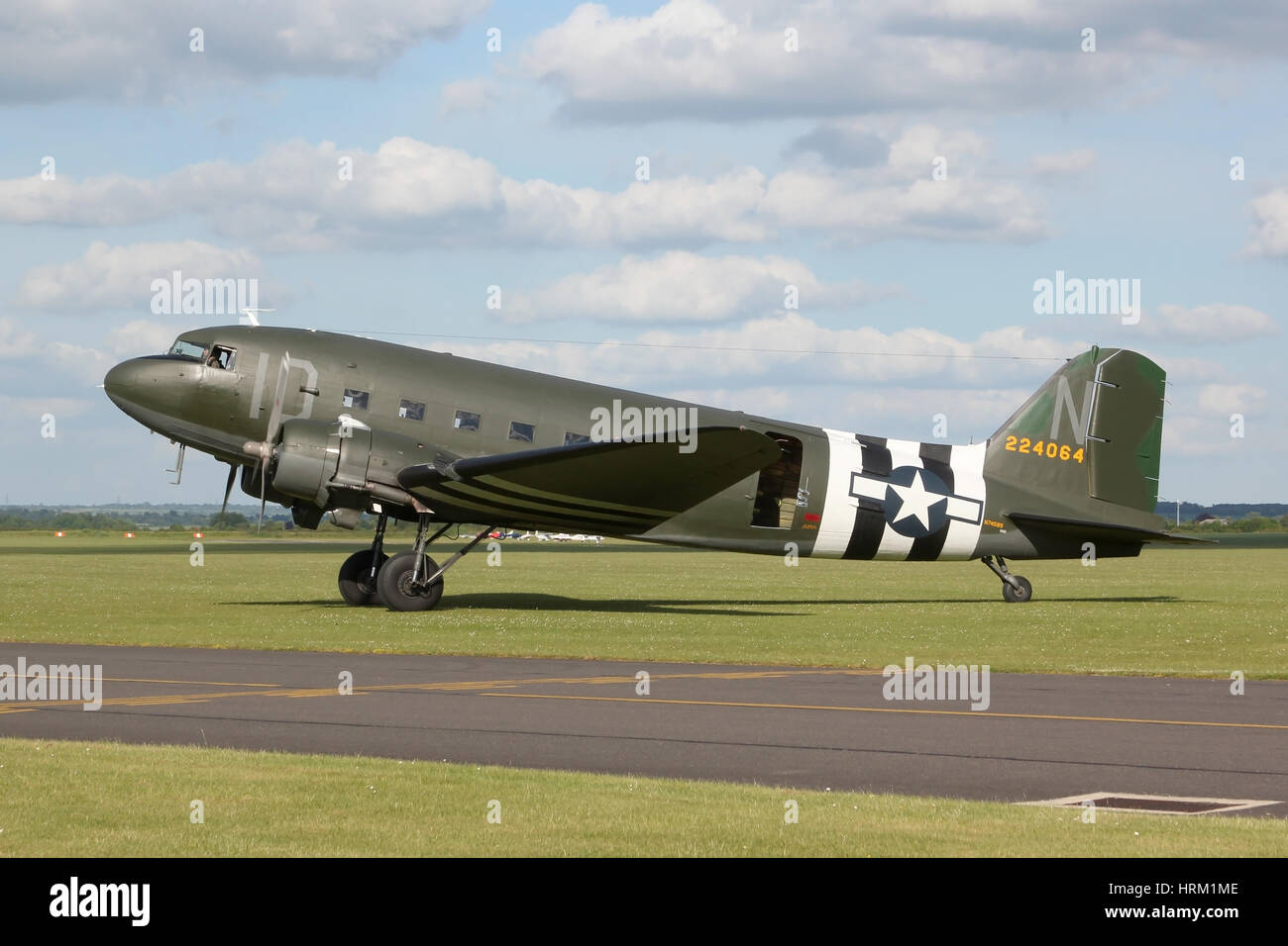 One of two US based DC-3/C-47s too have made the trip to Europe in 2014 for the 70th anniversary of the D-Day landings. - Stock Image