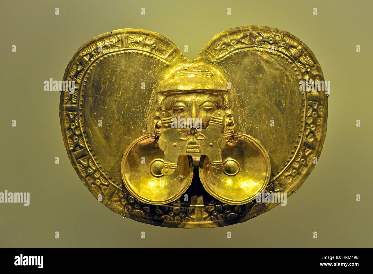 golden pectoral, pre-Hispanic gold work, Gold Museum, Bogota, Colombia, South America. - Stock Image