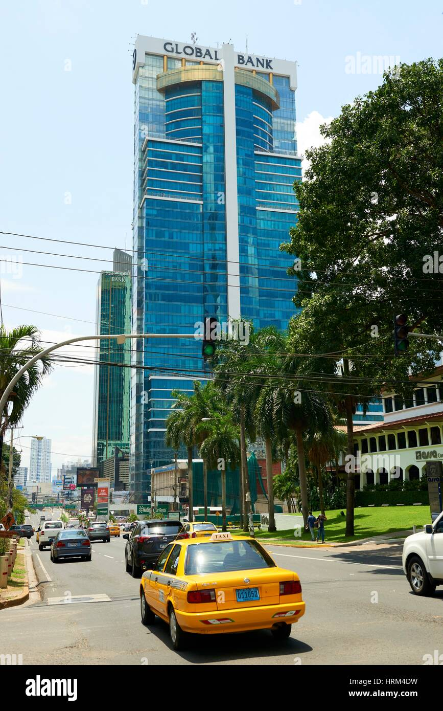 Global Bank Building, Panama City, Republic of Panama, Central America - Stock Image