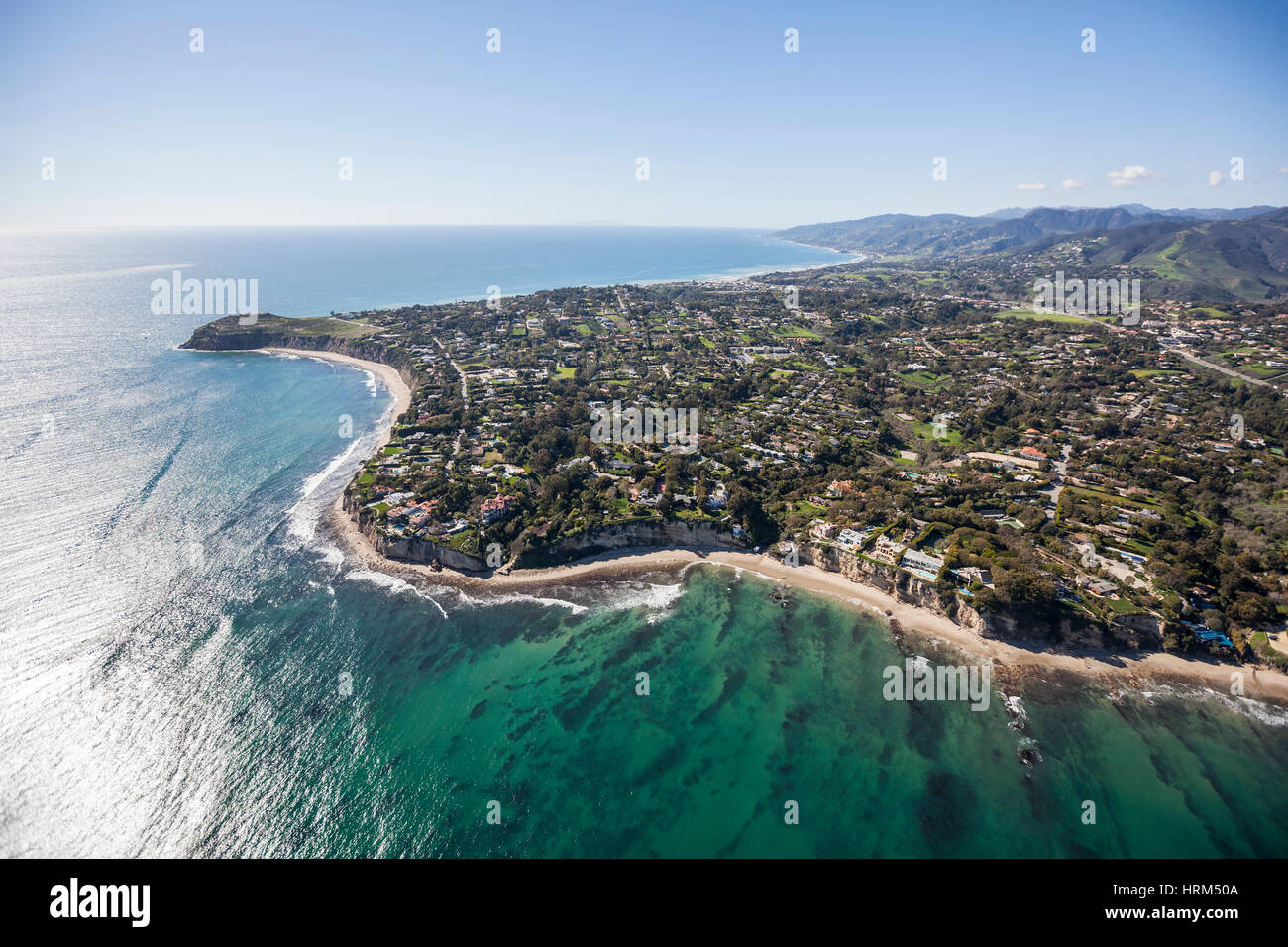 Aerial view towards Point Dume in Malibu California. Stock Photo
