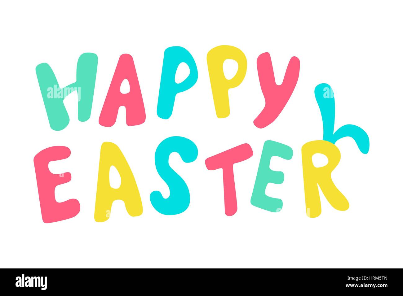 Happy easter card with rabbit ears. Typographical Background With funny signs. Hand drawn colored lettering For - Stock Vector