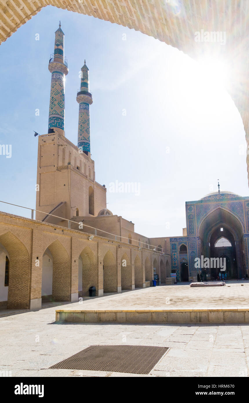 view of minaret of Jame mosque in Yazd - Stock Image