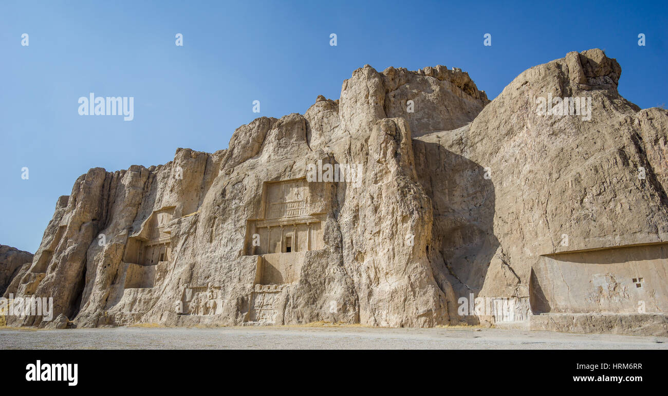Naqsh-e Rustam necropolis by Perseopolis in Shiraz - Stock Image
