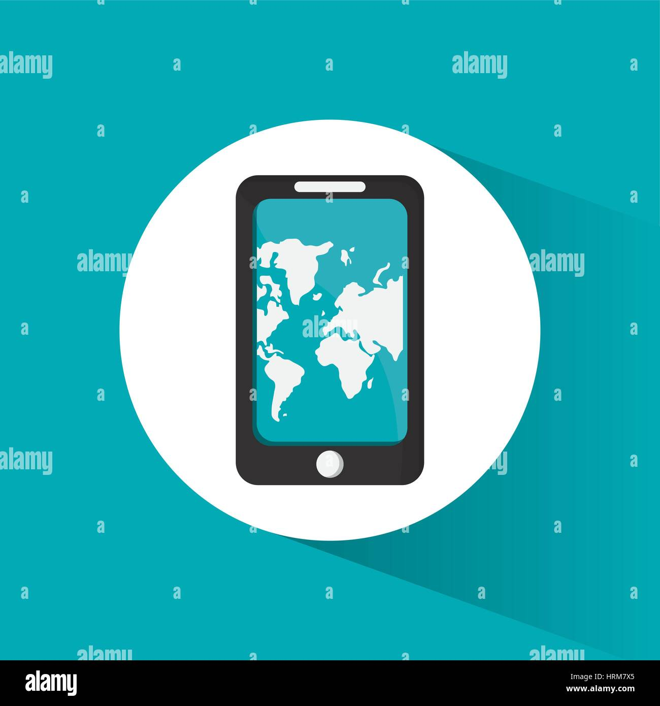 smartphone travel application map - Stock Image