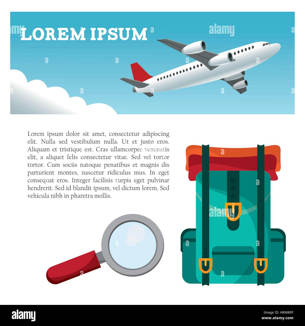 39f00e19336 travel airplane backpack search flyer Stock Vector Art ...
