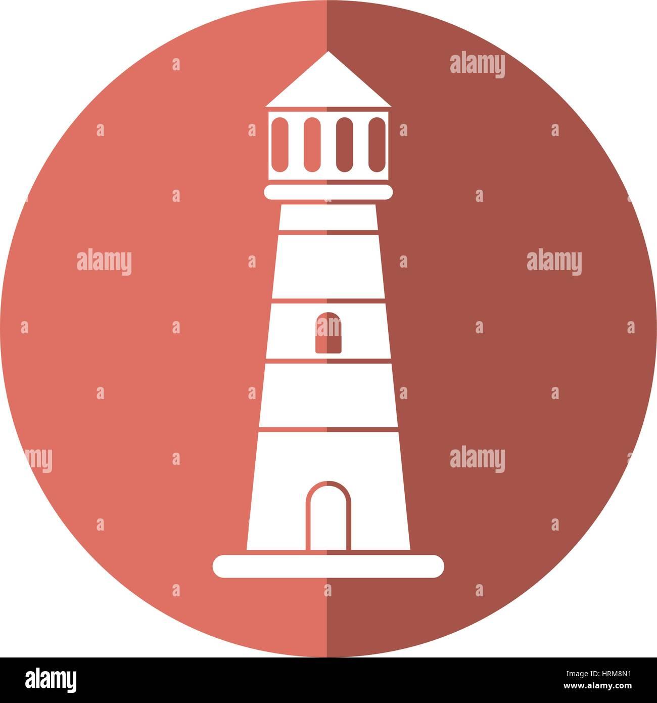 lighthouse guide sea shadow - Stock Vector