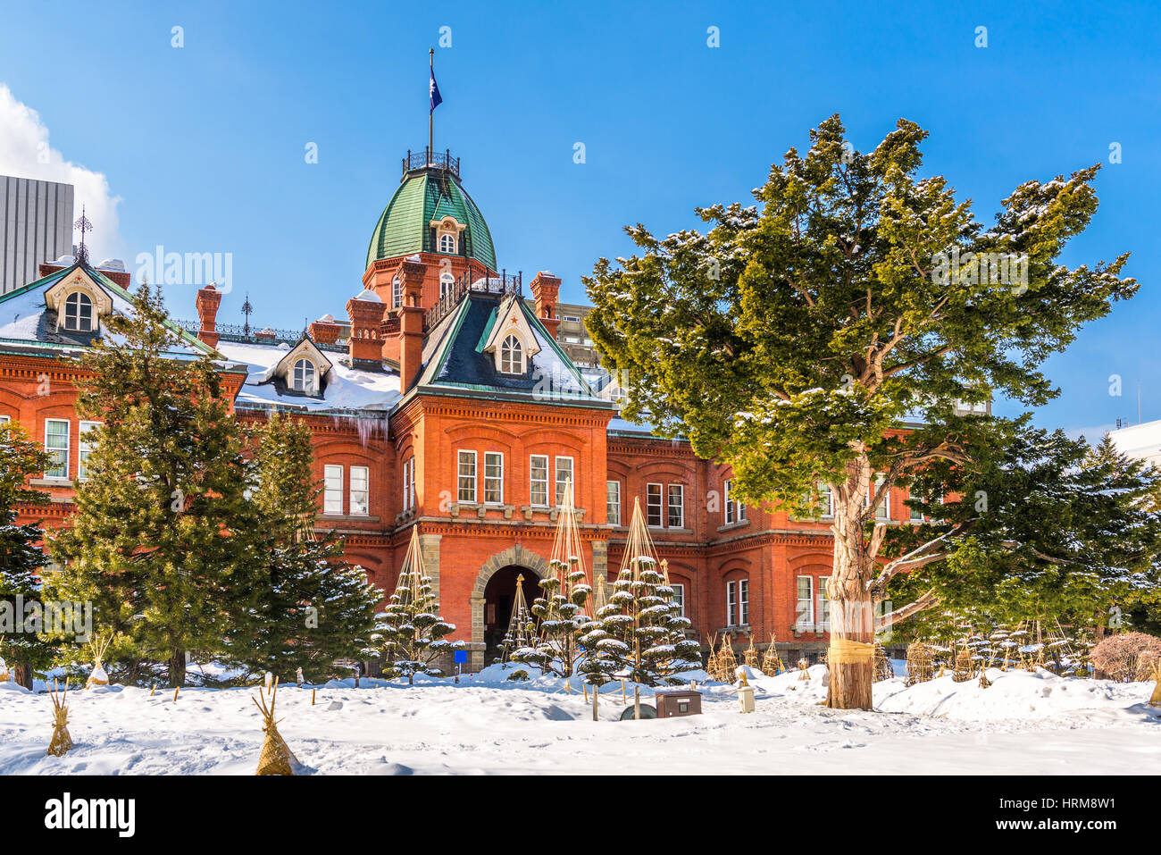 Sapporo, Japan at the Former Hokkaido Government offices during winter. - Stock Image