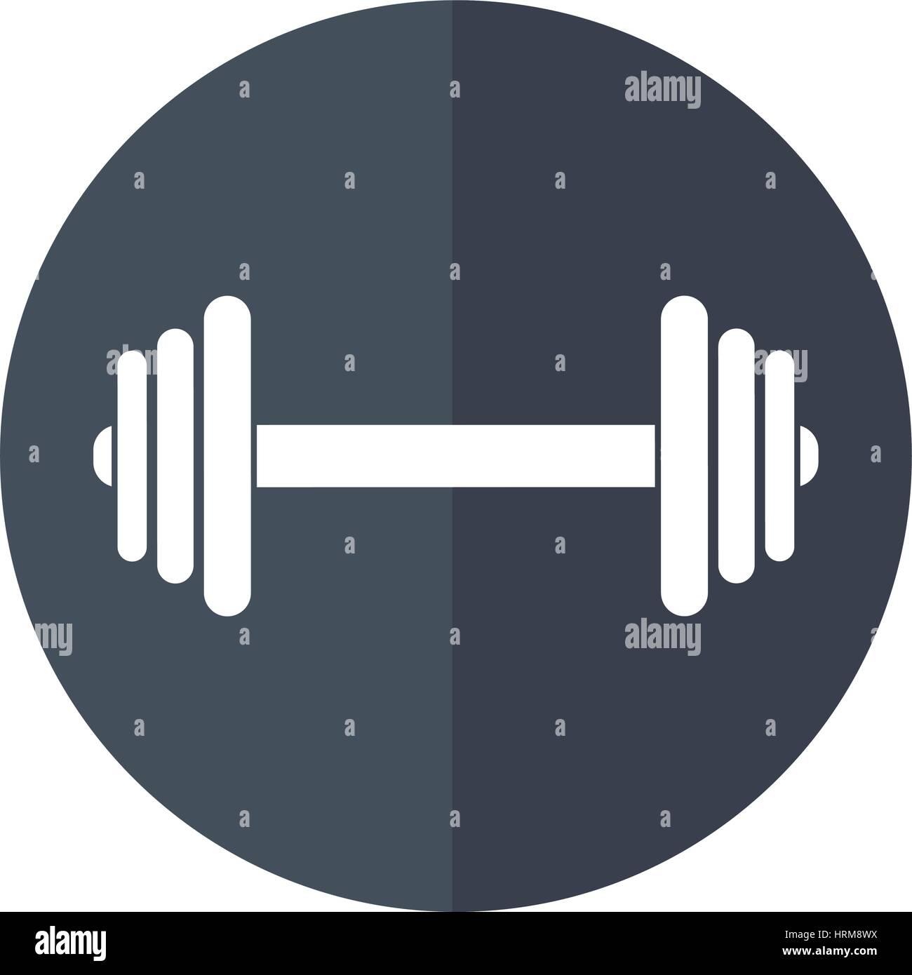 barbell fitness sport shadow - Stock Vector