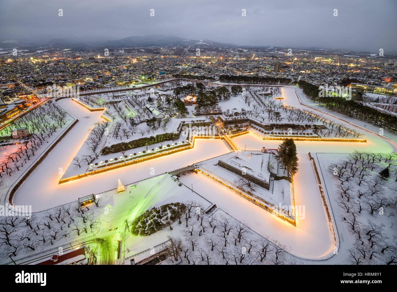 Hakodate, Japan at Fort Goryokaku in winter. - Stock Image