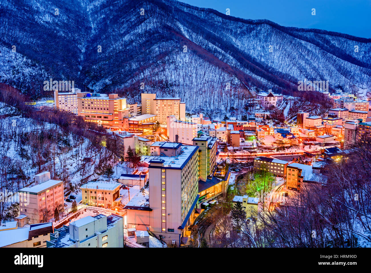 Noboribetsu, Japan hot springs town skyline. - Stock Image