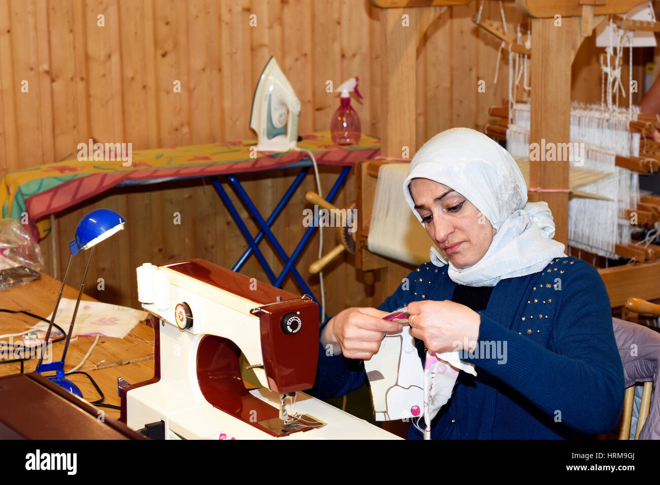 Mellansel,Sweden - Februari 02,2017:Refugee women working with handwork as a part of integration to the Swedish - Stock Image