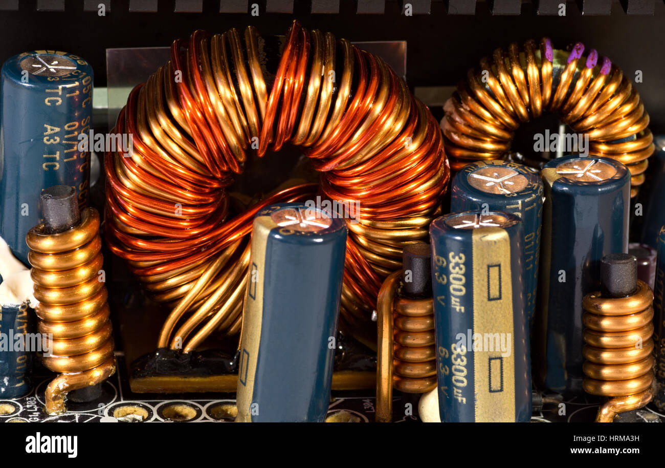 Inductance Stock Photos Images Alamy Coils Of Copper Wire Are Commonly Used In Electrical Inductors Coil And Capacitors Power Supply Unit Image