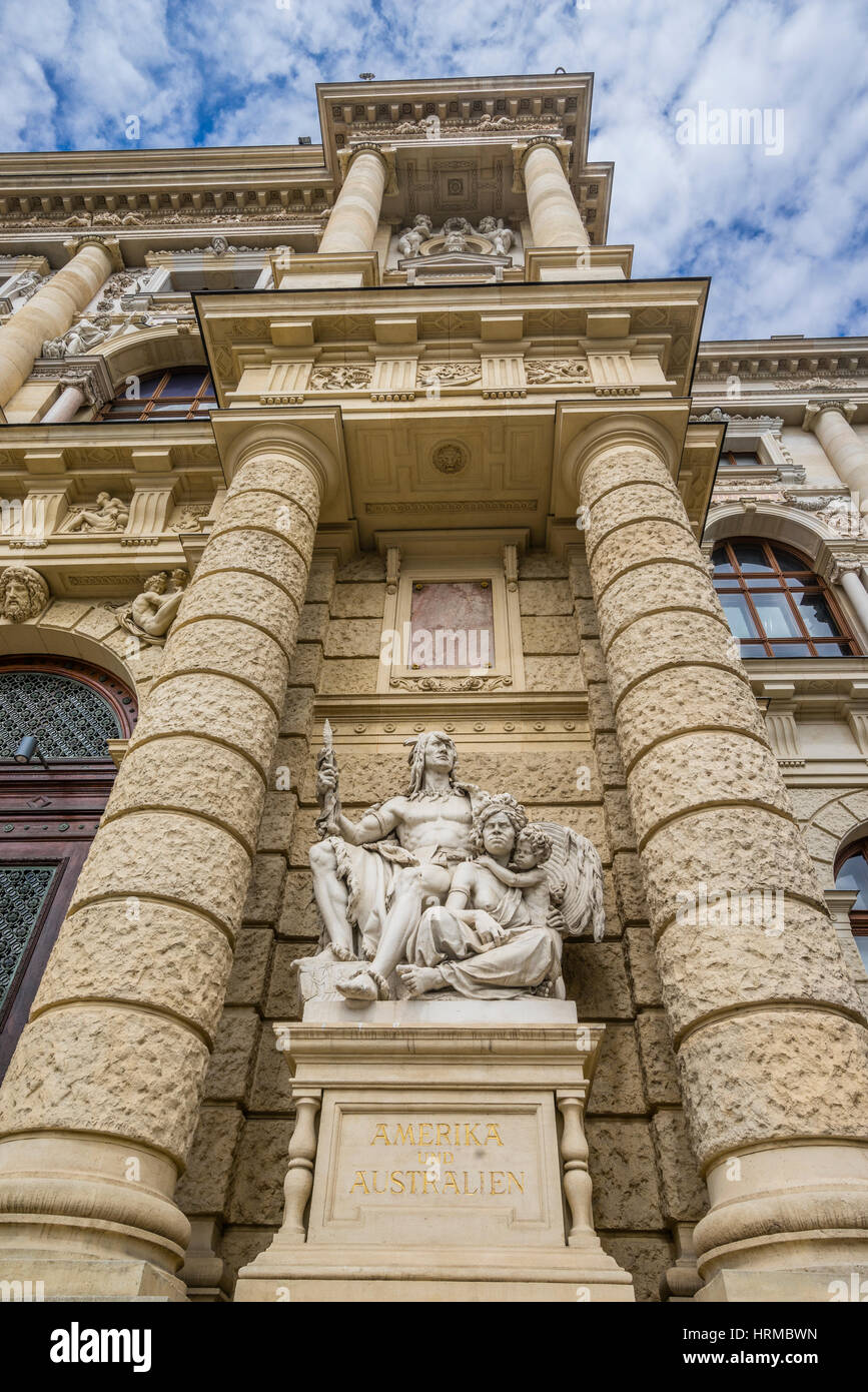 Austria, Vienna, facade of the Museum of Natural History with statuary personifying America and Australia - Stock Image