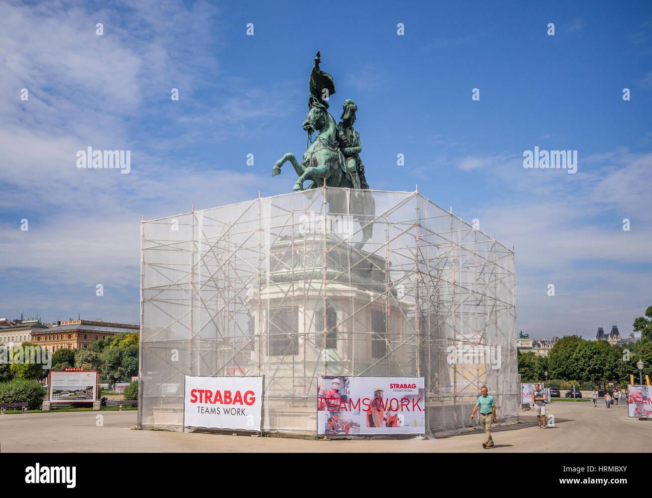 Austria, Vienna, Heldenplatz, the equestrian statue of Archduke Charles of Austria under renovation - Stock Image