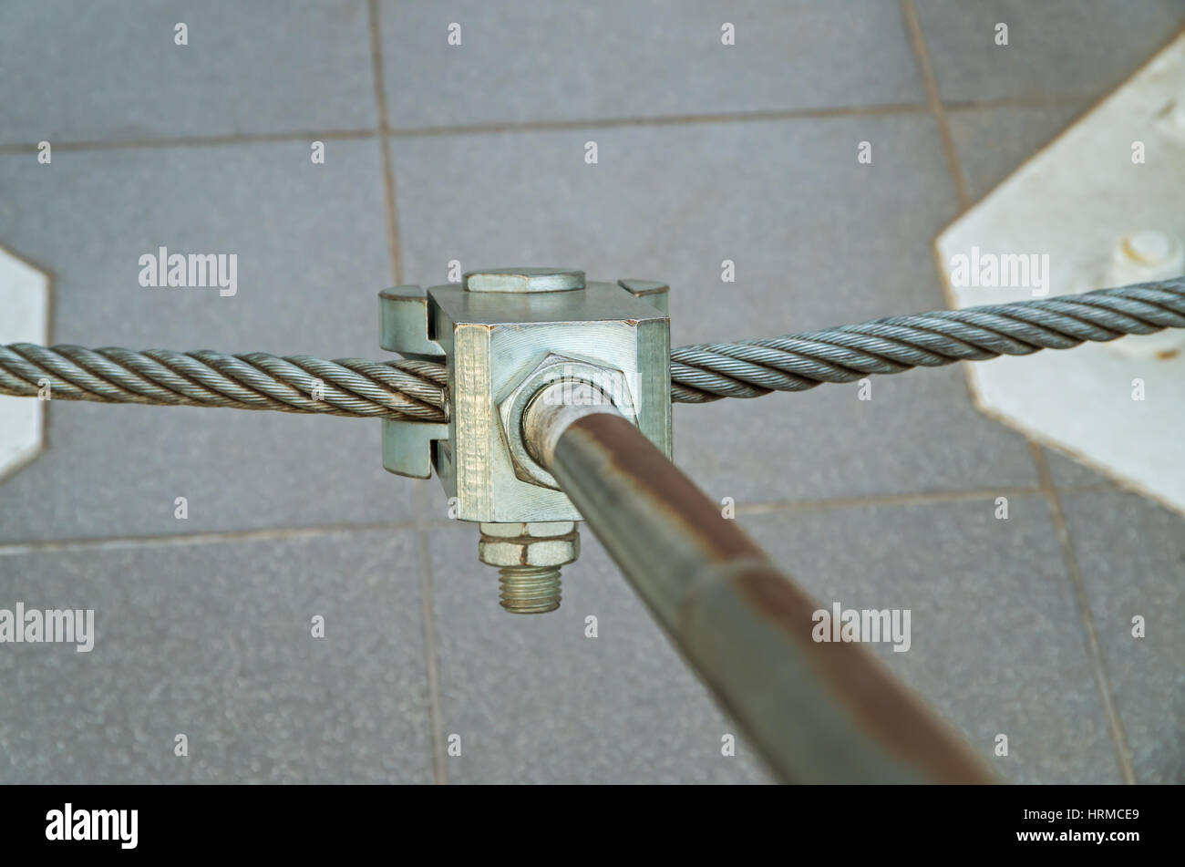 Metal mount consisting of bolts and cables to secure the radio transmitting antennas - Stock Image