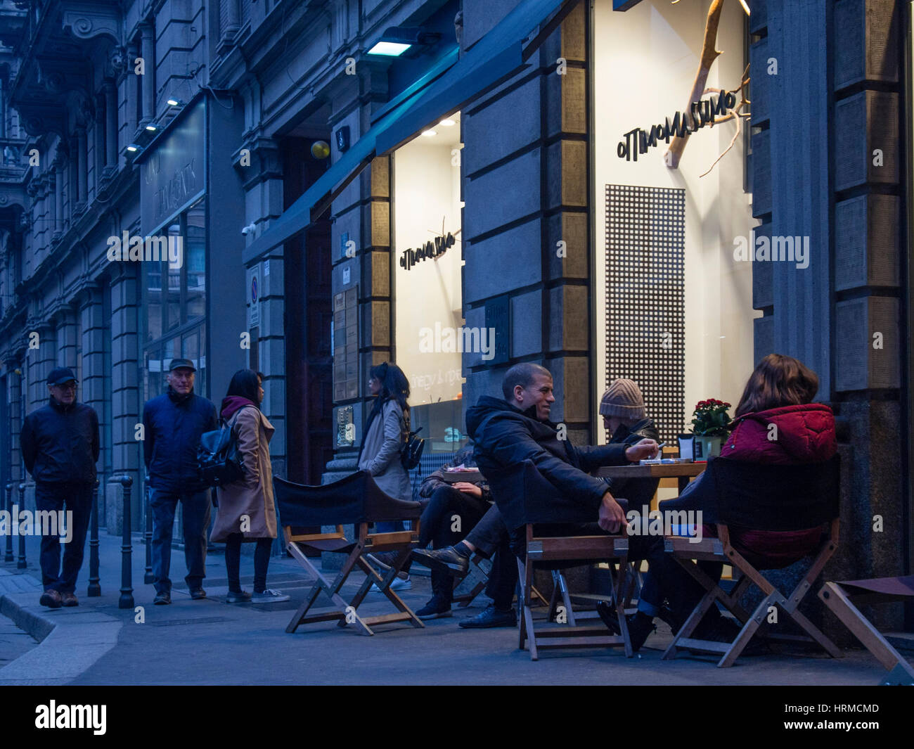 Aperitive, streets of the center of Milano during the  Fashion Week 2017 - Stock Image