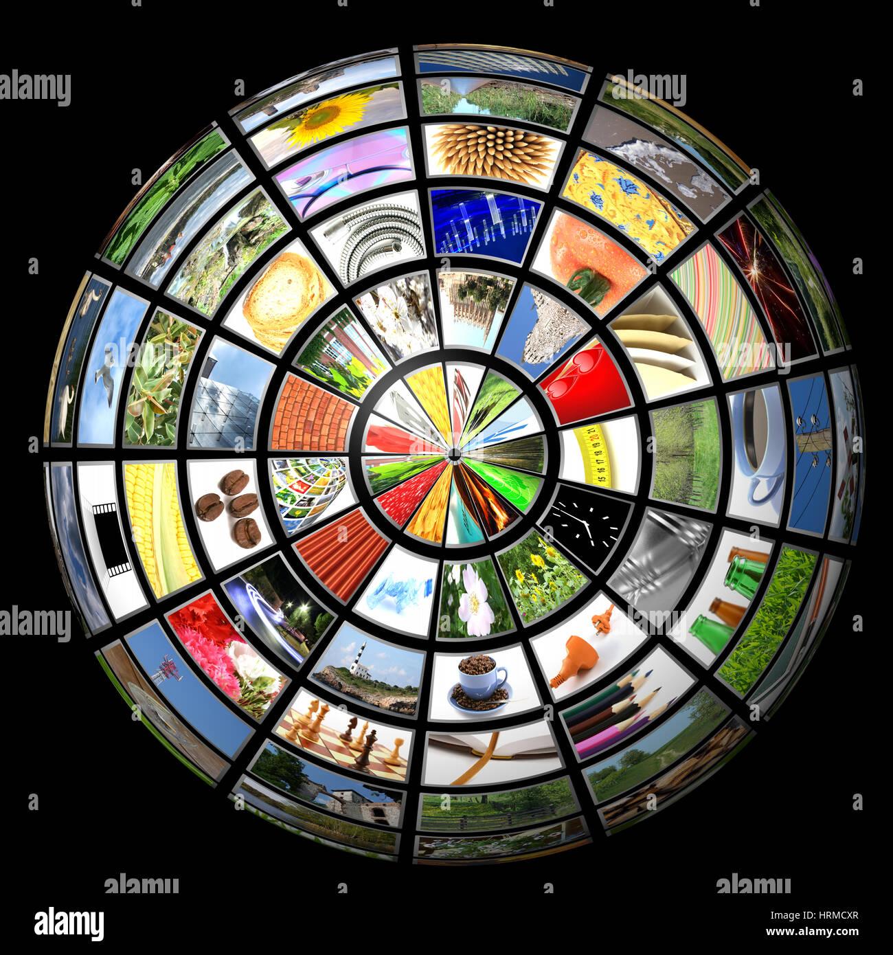 Tv news mobile imternet multimedia sphere. - Stock Image