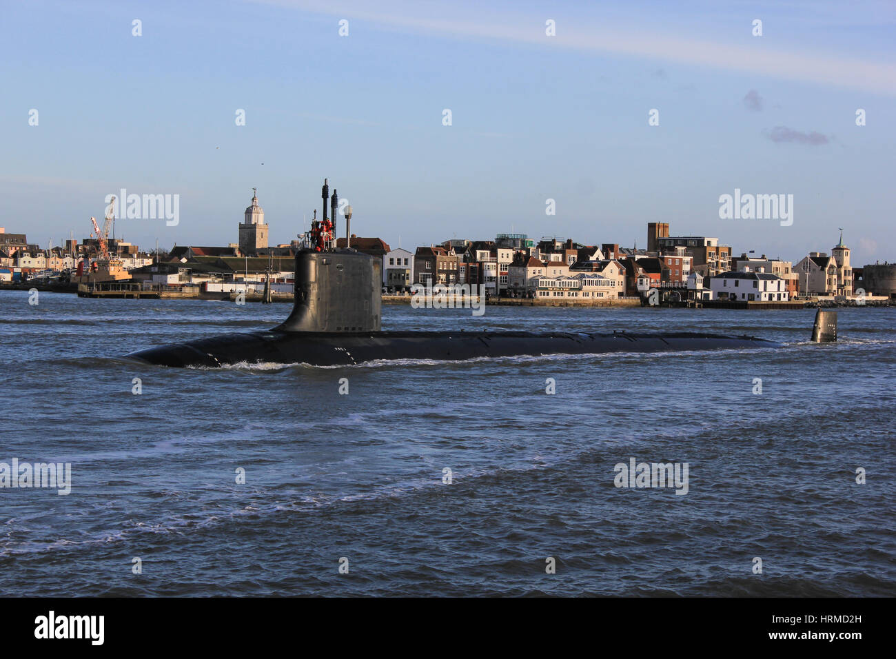 Virginia Class Nuclear Submarine USS New Hampshire (SSN-778) arrives in to Portsmouth Harbour - Stock Image
