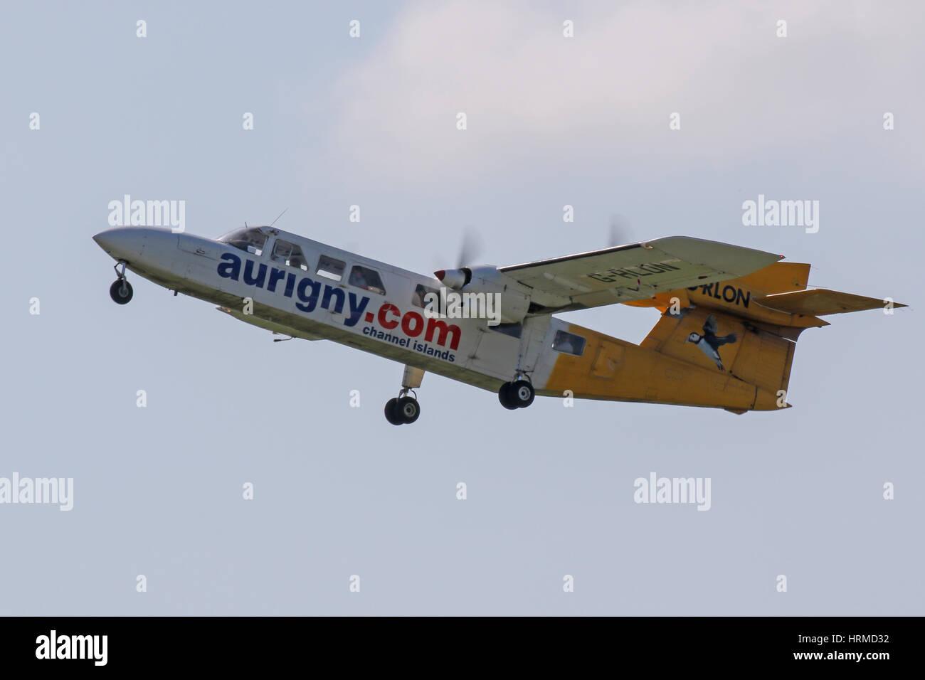Aurigny Air Services Britten Norman Trislander G-RLON departs Southampton Airport for Alderney - Stock Image