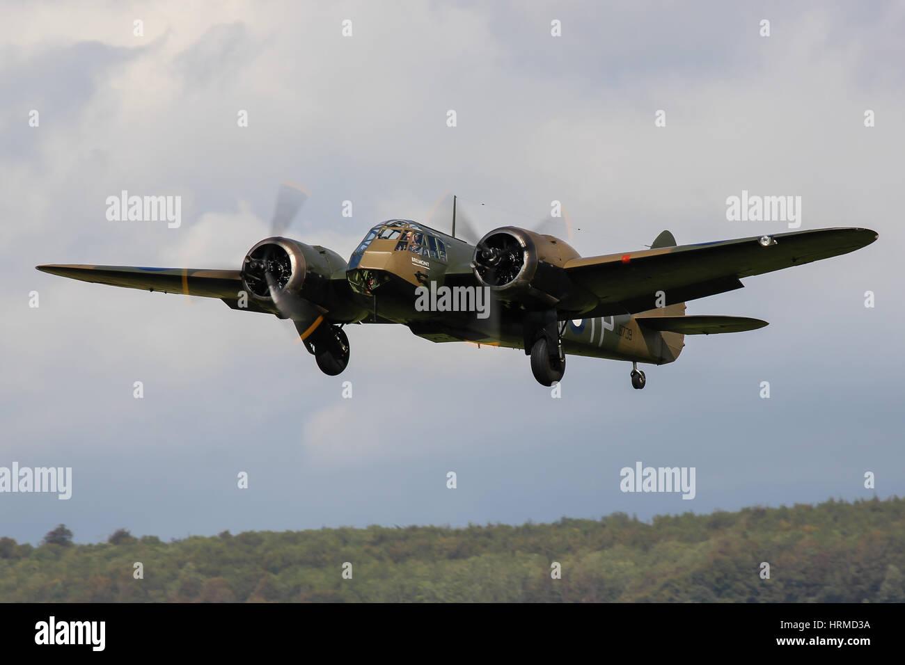 Aircraft Restoration Company's Bristol Blenheim MK If L6739 departs Goodwood Aerodrome, UK - Stock Image