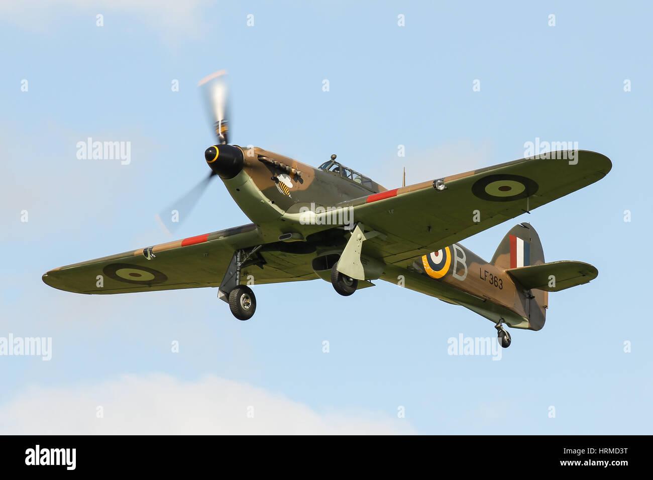 Battle of Britain Memorial Flight Hawker Hurricane MK IIc LF363 gets airborne from Goodwood Aerodrome, UK - Stock Image