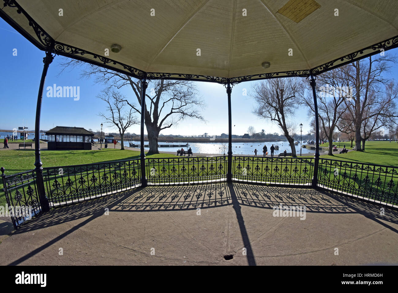 Christchurch harbour, viewed from inside the bandstand in Dorset, England - Stock Image