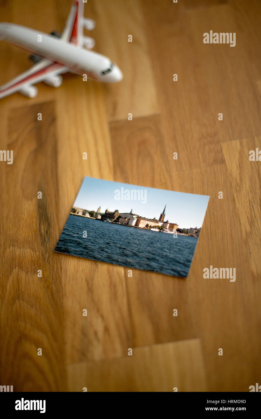 Travel photo of Stockholm, Sweden, lying on wooden table - Stock Image