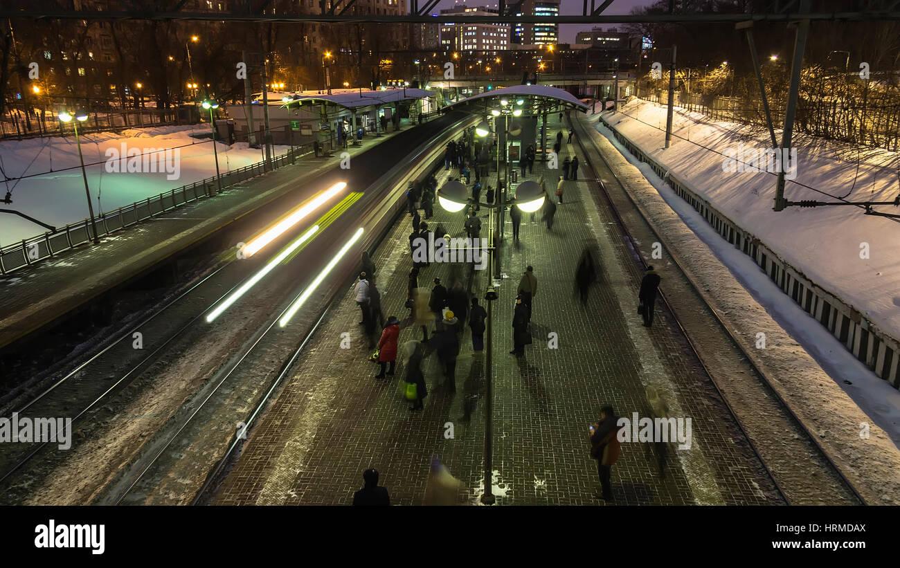 Moscow;Russia, February -first -Two thousand seventeen year; after the end of working day,  people depart home on - Stock Image