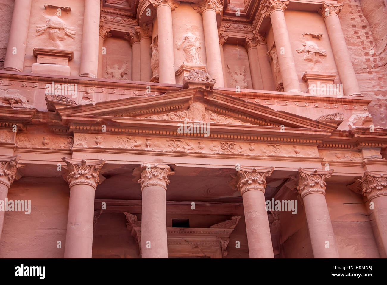 Detail of facade of famous tomb Al-Khazneh or Treasury in Petra, Jordan - Stock Image
