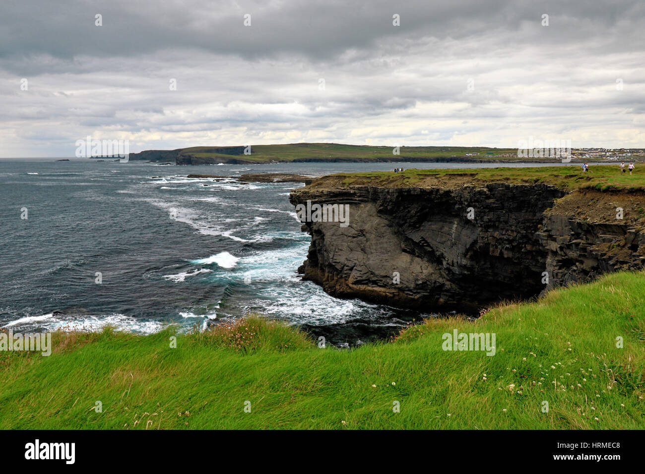 Near the ocean - amazing cliffs and beautiful nature at the coast of Ireland - Stock Image