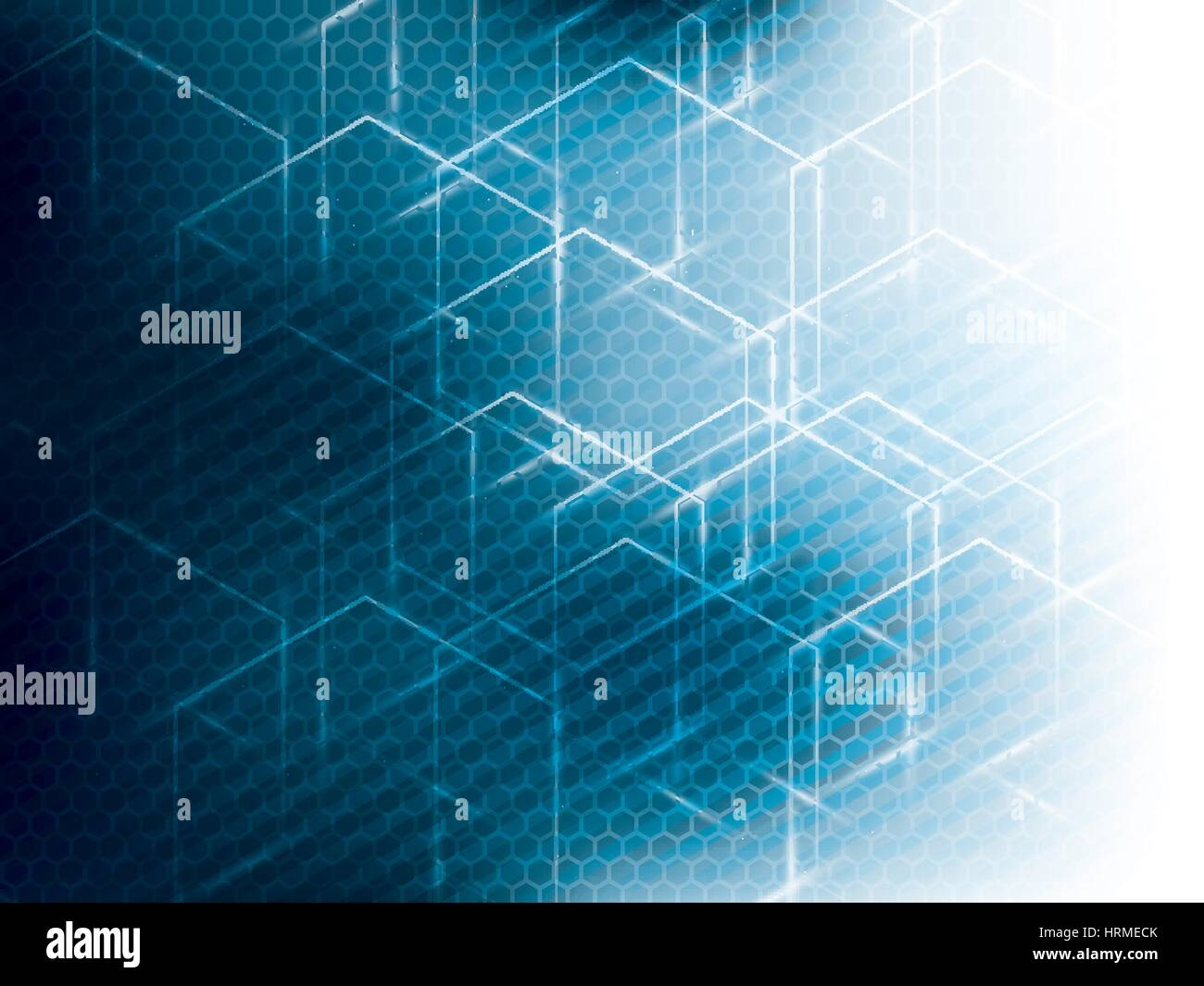 Vector abstract science technology blue background. Hexagon geometric design. - Stock Image