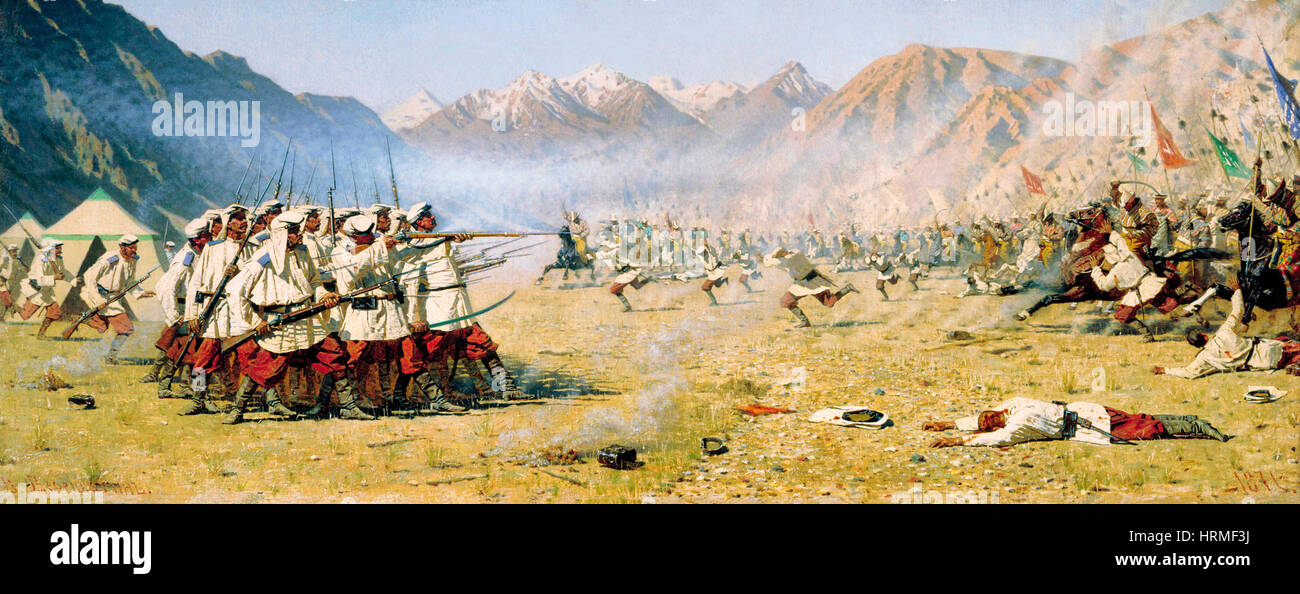 They Attack Unaware by Vasily Vereshchagin. Russian War in the Caucasus 1870 - Stock Image