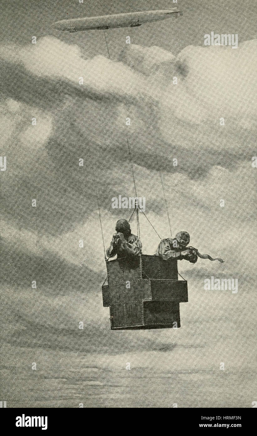 Zeppelin device for dropping bombs - An armored car is suspended from the Zeppelin Airship Stock Photo