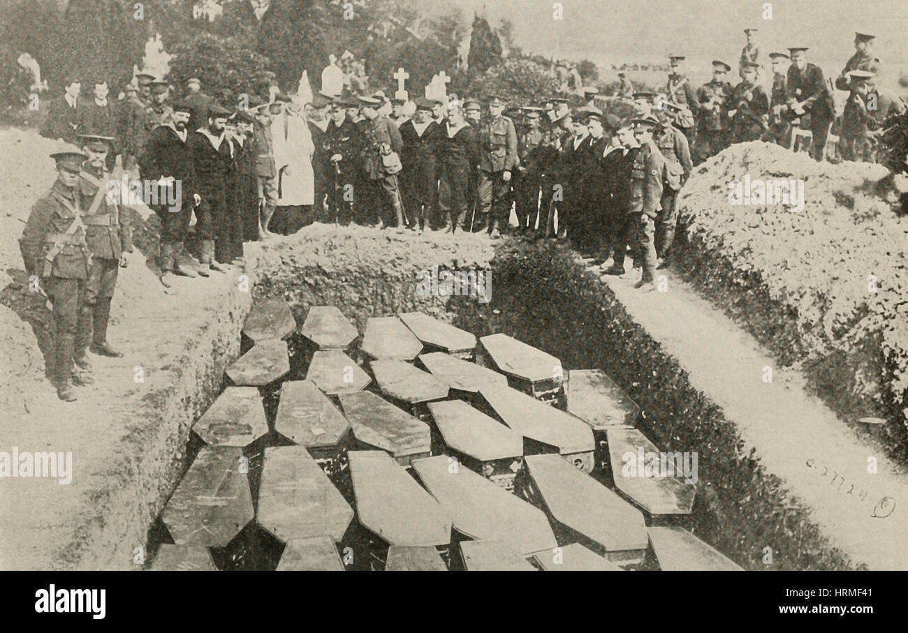 Sorrowful burial of some of the Lusitania Victims - World War I - Queenstown Graveyard Stock Photo