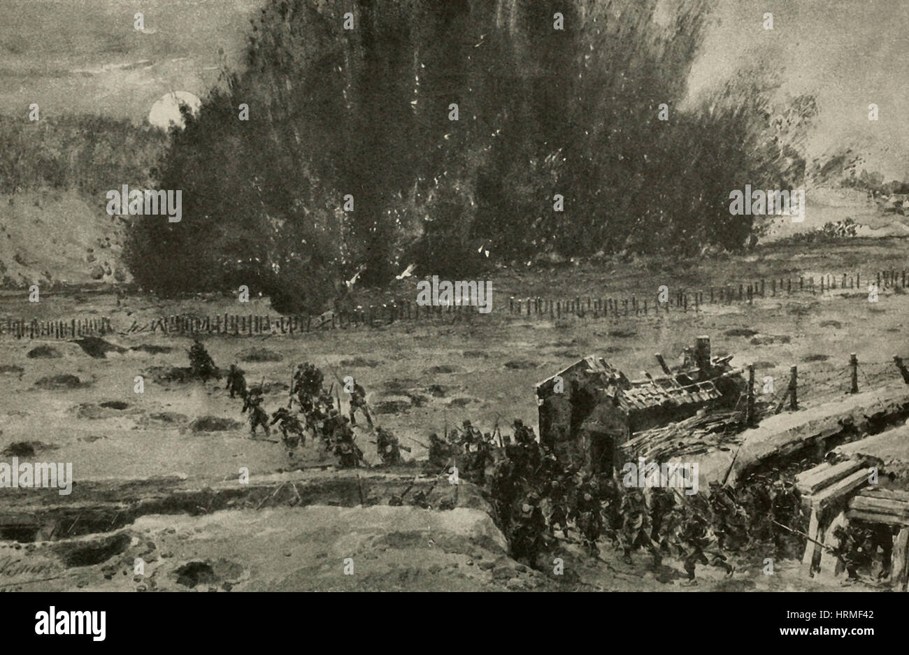 A Land mine exploding under enemy's trenches in World War I - Stock Image