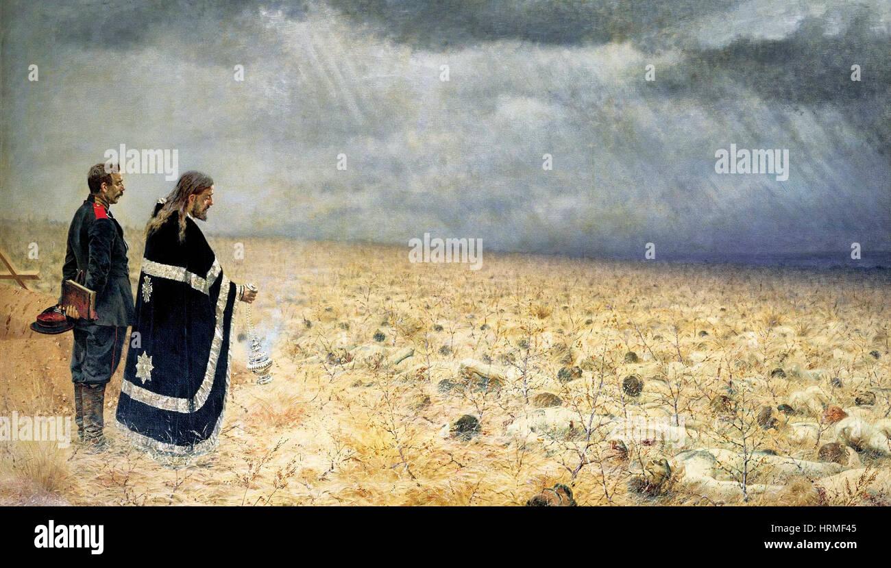 Defeated. Requiem by Vasily Vereshchagin 1890s - Stock Image