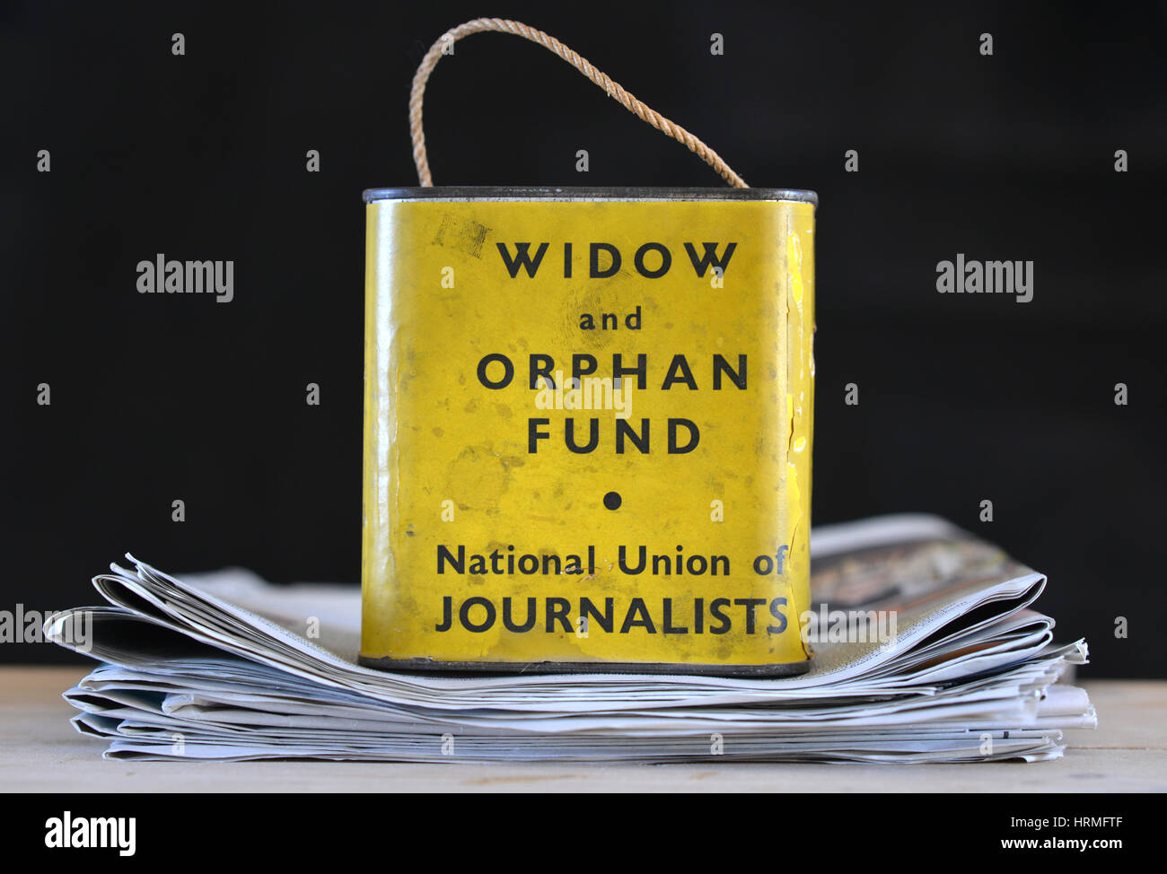 Vintage NUJ collecting tin for Widow and Orphan fund. - Stock Image