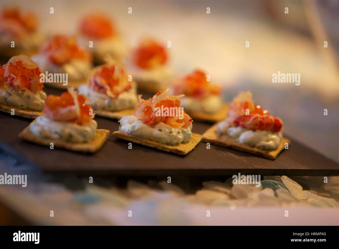 canapés at a dinner party - Stock Image