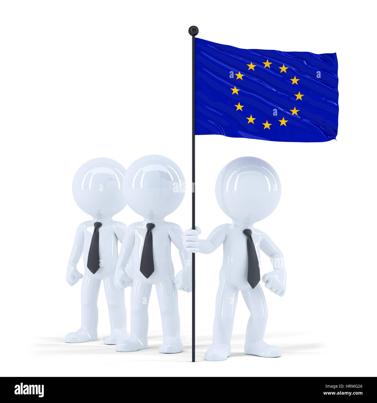 Business team holding flag of European Union. Isolated. Contains clipping path - Stock Image