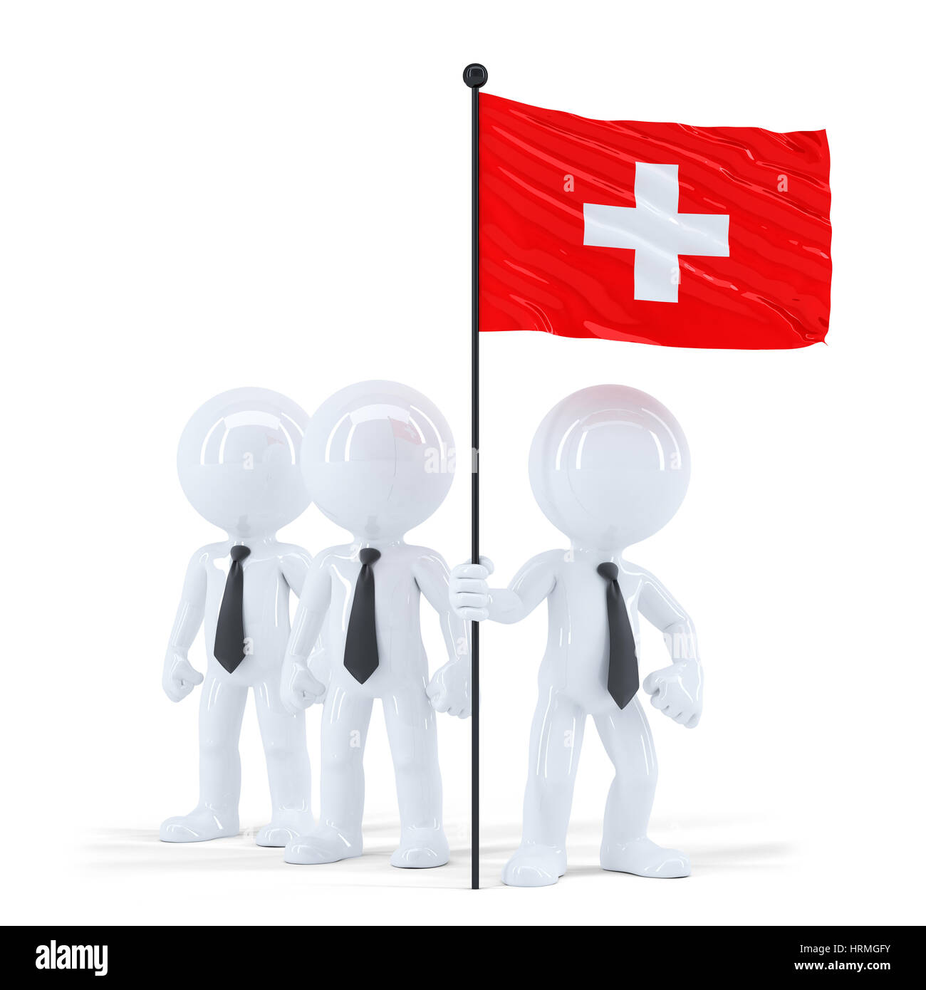 Business team holding flag of Swiss. Isolated. Contains clipping path - Stock Image