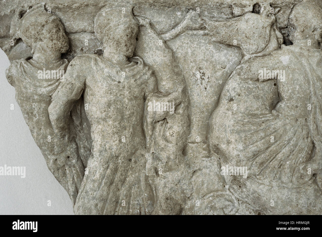Fragment of sarcophagus with battle scene. National Archaeological Museum. Tarragona. Catalonia, Spain. - Stock Image