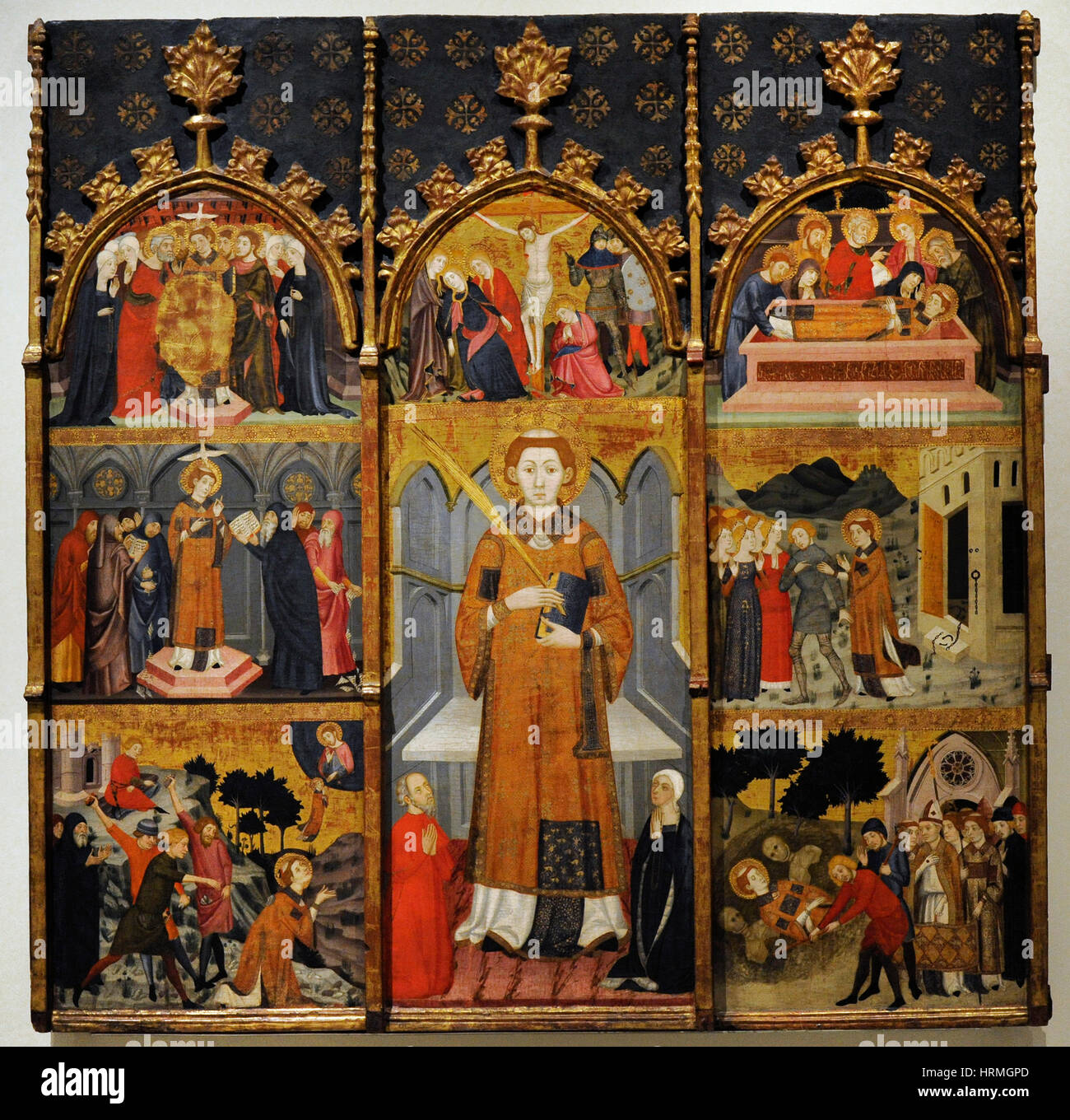 Jaume Serra (active in Barcelona 1358-1389/1395). Spanish painter. Altarpiece of Saint Stephen, ca. 1385. From the - Stock Image