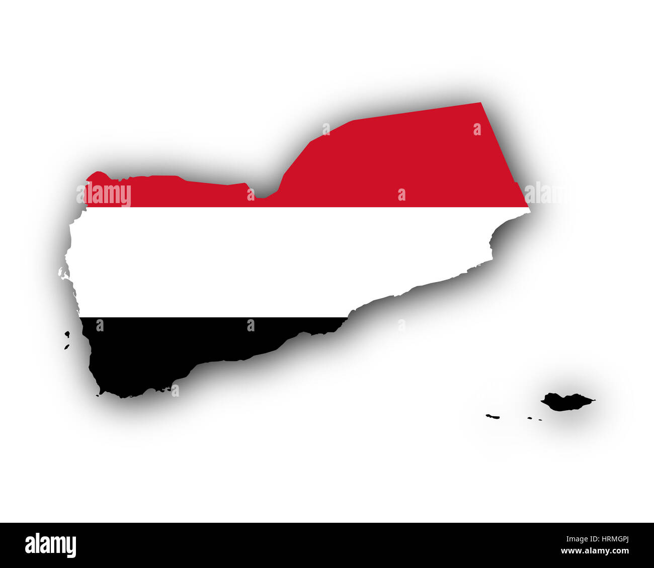 Map and flag of Yemen - Stock Image