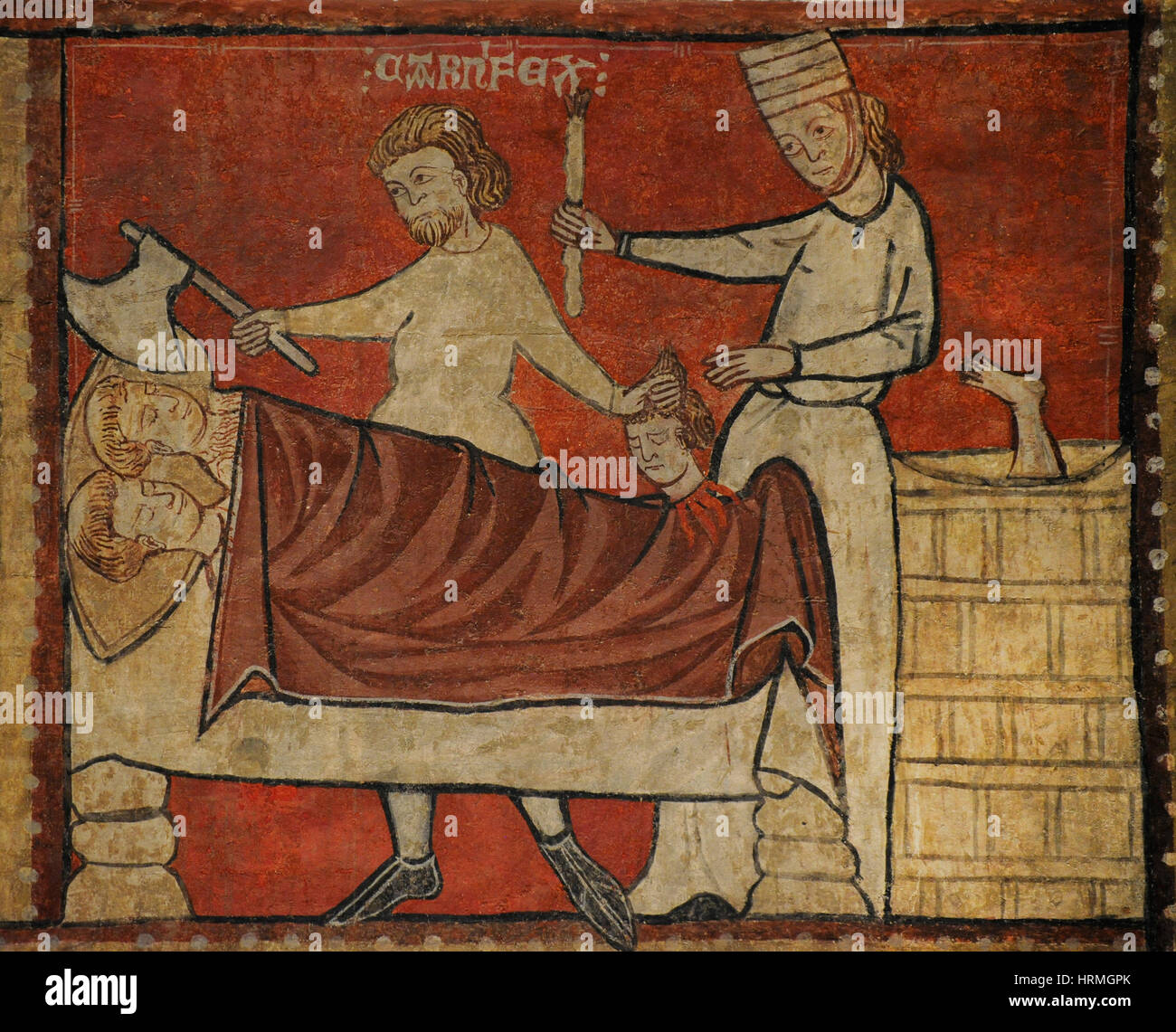 Second Master of Bierge. Scenes of the Life of Saint Nicholas, end of 13th century. Detail depicting an innkeeper Stock Photo